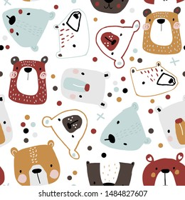 Seamless childish pattern with cute bear faces. Creative kids hand drawn texture for fabric, wrapping, textile, wallpaper, apparel. Vector illustration