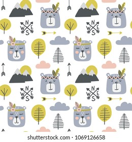 Seamless childish pattern with cute bears - indians in a wood. Scandinavian style kids texture for fabric, wrapping, textile, wallpaper, apparel. Vector illustration