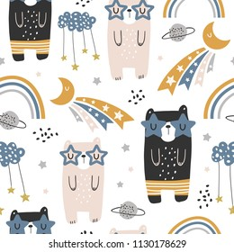 Seamless childish pattern with cute bears, rainbow, stars, moon. Creative scandinavian kids texture for fabric, wrapping, textile, wallpaper, apparel. Vector illustration