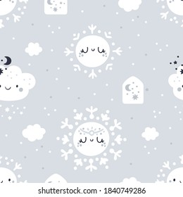 Seamless childish pattern with cute cartoon snowflakes, clouds and houses. Kids texture in pastel colors. Nursery winter print. Ideal for wallpaper, wrapping paper, kids clothing, textile, fabric