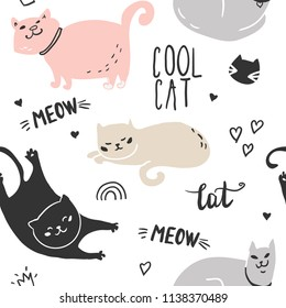 Seamless childish pattern with cute cat. Creative nursery background. Perfect for kids design, fabric, wrapping, wallpaper, textile, apparel