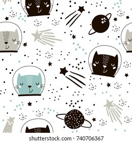 Seamless childish pattern with cute cats astronauts in helmets. Creative nursery background. Perfect for kids design, fabric, wrapping, wallpaper, textile, apparel