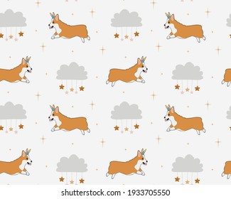 Seamless childish pattern with cute corgi dog with unicorn horn, clouds, stars. Baby texture for fabric, wrapping, textile, wallpaper, clothing. Vector illustration