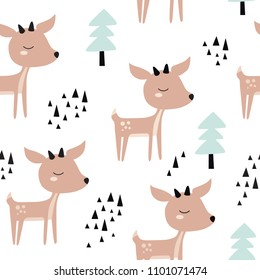Seamless childish pattern with cute deer in the wood. Creative kids texture for fabric, wrapping, textile, wallpaper, apparel. Vector illustration in Scandinavian style.