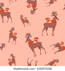Seamless childish pattern with cute deer in the scarf. Creative kids texture for fabric, wrapping, textile, wallpaper, apparel.