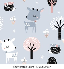 Seamless childish pattern with cute deer, hedgehog in the wood. Creative kids city texture for fabric Vector illustration