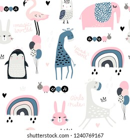 Seamless childish pattern with cute giraffe, penguin, rainbow, elephant, bunny, flamingo, owl and textures. Creative kids texture for fabric, wrapping, textile, wallpaper, apparel. Vector illustration