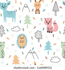 Seamless childish pattern with cute hand drawn forest animals. Design texture for fabric, wrapping, textile, decor. Forest background in cartoon style. Vector illustration