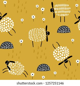Seamless childish pattern with cute hand drawn sleeping sheeps. Creative scandinavian kids texture for fabric, wrapping, textile, wallpaper, apparel. Vector illustration