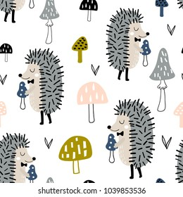 Seamless childish pattern with cute hedgehog and mushrooms. Creative woodland kids texture for fabric, wrapping, textile, wallpaper, apparel. Vector illustration