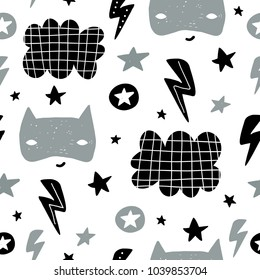 Seamless childish pattern with cute hero mask, star, cloud. Creative kids texture for fabric, wrapping, textile, wallpaper, apparel. Vector illustration