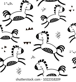 Seamless childish pattern with cute horses and hand drawn textures. Creative blackand white kids texture for fabric, wrapping, textile, wallpaper, apparel. Vector illustration