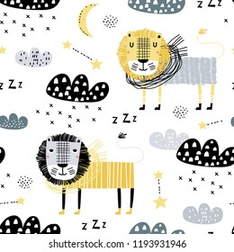 Seamless childish pattern with cute lion dreams of snow. Creative kids texture for kids fabric, textile, nursery wallpaper. Vector illustration. Scandinavian style.