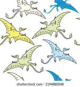 Seamless childish pattern with cute pterodactyls in simple style. Creative  kids texture for fabric, wrapping, textile, wallpaper, apparel. Vector illustration pterodactyl