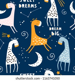 Seamless childish pattern with cute sleeping giraffe and starry sky. Creative kids texture for fabric, wrapping, textile, wallpaper, apparel. Vector illustration