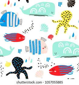 Seamless childish pattern with fish, octopust, whales and hand drawn shapes. Creative under sea kids texture for fabric, wrapping, textile, wallpaper, apparel. Vector illustration