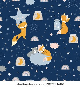 Seamless childish pattern with fox, bear, clouds, rainbows, jar with moon and stars. Creative kids texture for fabric, wrapping, textile, wallpaper, apparel. Vector illustration - Vector
