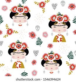 Seamless childish pattern Frida Kahlo portrait . Creative kids hand drawn texture for fabric, wrapping, textile, wallpaper, apparel. Vector illustration