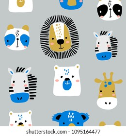 Seamless childish pattern with funny animals faces . Creative scandinavian kids texture for fabric, wrapping, textile, wallpaper, apparel. Vector illustration