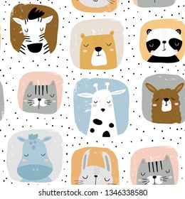 Seamless childish pattern with funny animals portreits . Creative scandinavian kids texture for fabric, wrapping, textile, wallpaper, apparel. Vector illustration