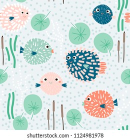 Seamless childish pattern with funny fish hedgehogs.Creative under sea summer texture for fabric, wrapping, textile, wallpaper, apparel. Vector illustration