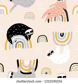 Seamless childish pattern with funny sloths on rainbows. Creative kids texture for fabric, wrapping, textile, wallpaper, apparel. Vector illustration