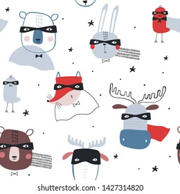 Seamless childish pattern with funny superheroes on white background. Creative kids texture for fabric, wrapping, textile, wallpaper, apparel. Vector illustration in red and blue.
