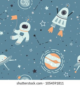 Seamless childish pattern with hand drawn space elements space, satellite, planet, rocket, stars, space probe, constellations, meteorite, astronaut. Trendy kids  green, grey vector background.