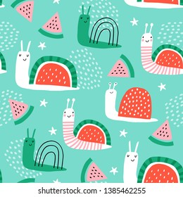 Seamless childish pattern with hand drawn snails and watermelons. Creative scandinavian kids texture for fabric, wrapping, textile, wallpaper, apparel. Vector illustration. Green, pink and red.