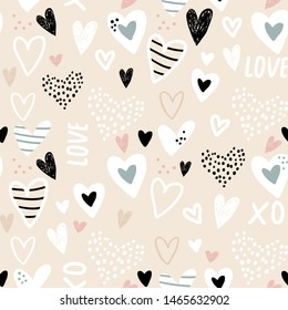 Seamless childish pattern with hand drawn hearts. Creative abstract kids texture for fabric, wrapping, textile, wallpaper, apparel. Vector illustration