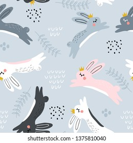 Seamless childish pattern with jumping rabbits in crown. Creative nursery texture. Perfect for kids design, fabric, wrapping, wallpaper, textile, apparel