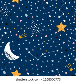 Seamless childish pattern with night starry sky. Creative kids texture for fabric, wrapping, textile, wallpaper, apparel. Vector illustration