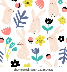 Seamless childish pattern with pink bunny, flowers, lady birds . Creative scandinavian kids texture for fabric, wrapping, textile, wallpaper, apparel. Vector illustration