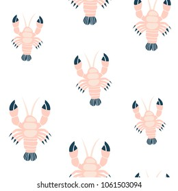 Seamless childish pattern with pink lobsters. Creative under sea summer texture for fabric, wrapping, textile, wallpaper, apparel. Vector illustration