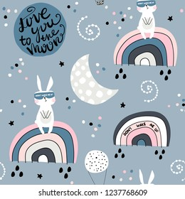 Seamless childish pattern with slepping rabbits on rainbow, moon and starry sky. Creative kids texture for fabric, wrapping, textile, wallpaper, apparel. Vector illustration