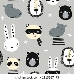 Seamless childish pattern with stylish monochrome animals . Creative scandinavian kids texture for fabric, wrapping, textile, wallpaper, apparel. Vector illustration