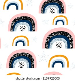Seamless childish pattern with trendy rainbows.Creative scandinavian kids texture for fabric, wrapping, textile, wallpaper, apparel. Vector illustration