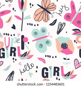 Seamless childish pattern. Vector illustration. Colorful floral pattern for girls. Fashionable template for design.