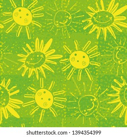 seamless childish vector pattern with happy yellow suns and sunflowers on plaid textured green background