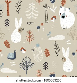 Seamless childish woodland pattern with bunny,bears, snail, hedgehog. Creative kids forest texture for fabric, wrapping, textile, wallpaper, apparel. Vector illustration
