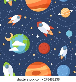 Seamless children cartoon space pattern with rockets, planets, stars and dashed traces over the dark night sky background
