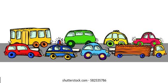 Seamless children's background Transportation. Vector