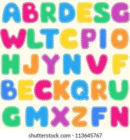 Seamless children's bright alphabet pattern. Vector background.