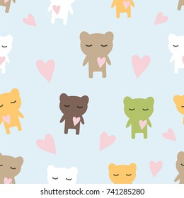 Seamless children's pattern texture with bears, vector illustration