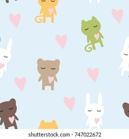Seamless children's pattern texture for paper and fabric cat, bear, hare with hearts, vector illustration