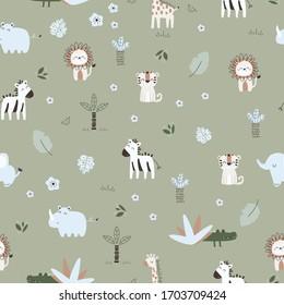 Seamless children's safari design. Creative Scandinavian children's textures for fabrics, wraps, textiles, wallpaper, clothing. Vector illustration, wild animals illustration, lion illustration