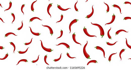 Seamless of chilli peppers on white background. Vector illustration,