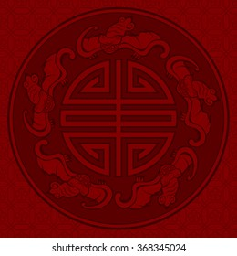 Seamless Chinese Pattern Of Five Blessings (Longevity And Lucky And Bat Symbols)