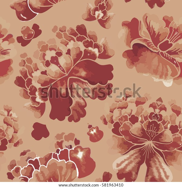 Seamless chinese pattern. Watercolor style wallpaper with floral ornament pattern. Vector Illustration.
