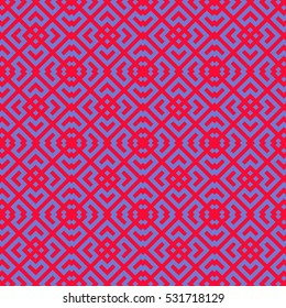 Seamless Chinese window tracery pattern. Lattice motif. Repeated red figures on violet background. Symmetric geometric abstract wallpaper. Digital paper for textile print. Vector art illustration
